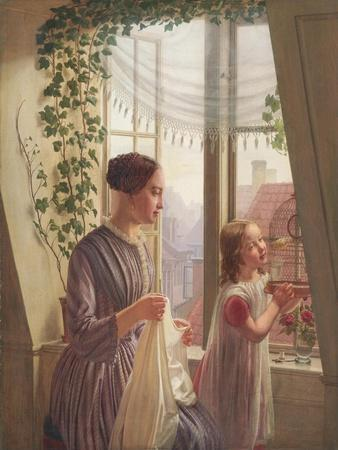 Interior with mother and daughter by a window, 1853