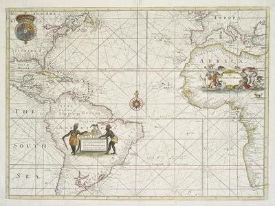 Chart of the Western  Ocean with rhumb lines by Jeremiah Seller, 1705