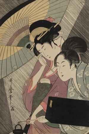 Geisha and Attendant on a Rainy Night, c.1797