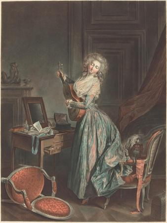 A Woman Playing the Guitar, 1788-9, engraved by Jean-François Janinet