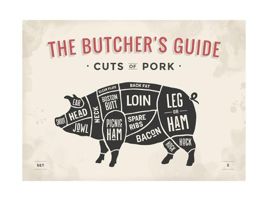 Cut of Meat Butcher Diagram - Pig' Prints - foxysgraphic   AllPosters.comAllPosters.com