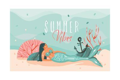 Summer Vibes - Mermaid Illustration