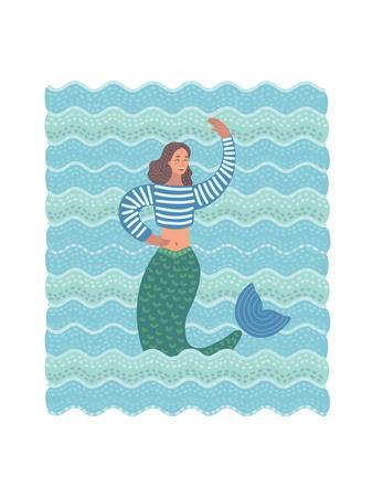 Illustration of Mermaid in the Waves