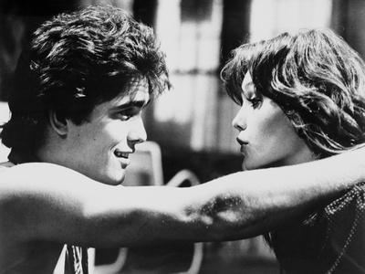 RUMBLE FISH, 1983 directed by FRANCIS FORD COPPOLA Matt Dillon and Diane Lane (b/w photo)