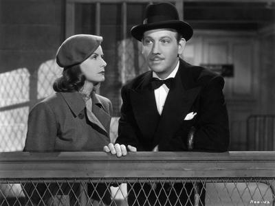 Greta Garbo and Melvyn Douglas in the, 1939 film <Ninotchka>, directed by Ernst Lubitsch (b/w photo