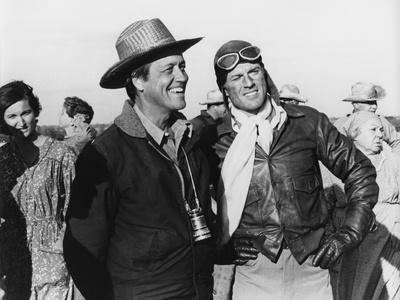 Le realisateur George Roy Hill and Robert Redford sur le tournage du film La Kermesse des Aigles TH