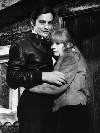 La Motocyclette by Jack Cardiff with Alain Delon and Marianne Faithfull, 1968 (b/w photo)