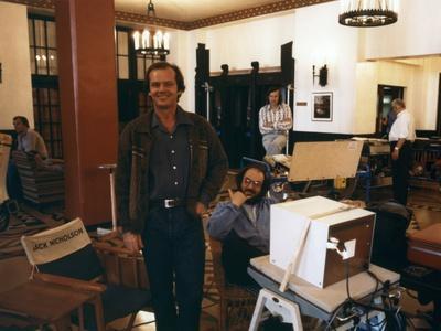 Jack Nicholson and le realisateur Stanley Kubrick sur le tournage du film Shining, 1980 (d'apres St