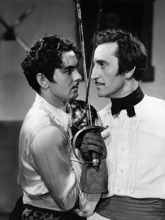 THE MARK OF ZORRO, 1940 directed by ROUBEN MAMOULIAN Tyrone Power and Basil Rathbone (b/w photo)