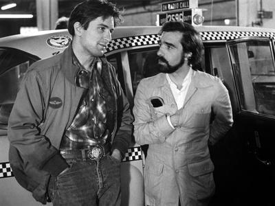 Robert by Niro and le realisateur Martin Scorsese sur le tournage du film Taxi Driver, 1976 (b/w ph
