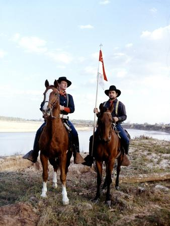 Les Cavaliers THE HORSE SOLDIERS by John Ford with John Wayne, 1959 (photo)
