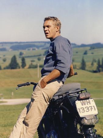 THE GREAT ESCAPE, 1963 directed by JOHN STURGES Steve McQueen sitting on a Triumph T110 from, 1962