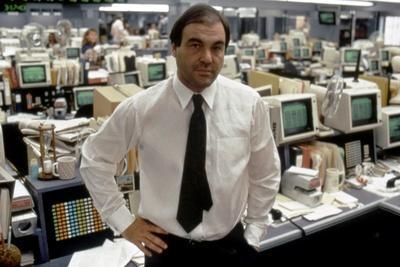 Le realisateur Oliver Stone sur le tournage du film Wall street en, 1987 (photo)