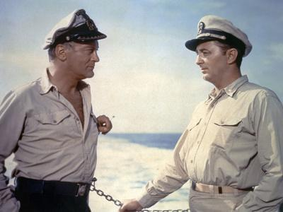 THE ENEMY BELOW by DickPowell with Robert Mitchum, Curd Jurgens, 1957 (photo)