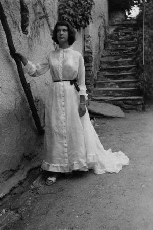 Bernadette Lafont, as young woman (15) in Nimes, 1953 (b/w photo)