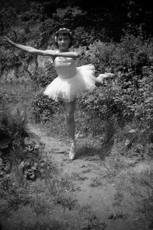 Bernadette Lafont, as a child, dancer, c. 1949, Nimes (b/w photo)