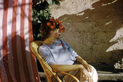Bernadette Lafont, as a young woman, in Nimes, south of France, c. 1955 (photo)