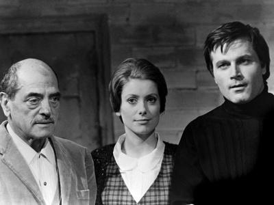 Luis Bunuel, Catherine Deneuve and Franco Nero during filming of 'Tristana', 1970 (b/w photo)