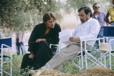 Willem Dafoe and le realisateur Martin Scorsese sur le tournage du film La Derniere Tentation du Ch