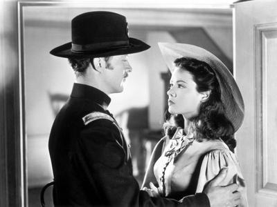 BELLE STARR, 1941 directed by IRVING CUMMINGS Dana Andrews and Gene Tierney (b/w photo)