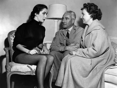 On the set ; Elizabeth Taylor and his parents, Francis and Sara Taylor. LOVE IS BETTER THAN EVER, 1