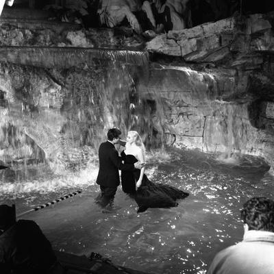 Marcello Mastroianni and Anita Ekberg, La Dolce Vita, Federico Fellini, 1960 (b/w photo)