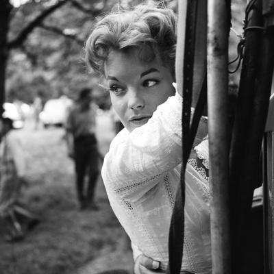 Romy Schneider on set of film Christine, 1958 (b/w photo)