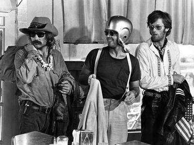Easy Rider by DennisHopper with Dennis Hopper, Peter Fonda and Jack Nickolson, 1969 (b/w photo)
