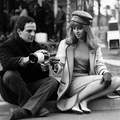 actress Julie Christie and film director Francois Truffaut on set of film Fahrenheit 451, 1966