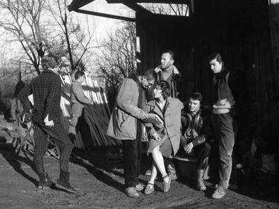 Claude Chabrol, Bernadette Lafont, Gerard Blain and Jean-Claude Brialy, 1957