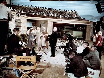 Alfred hitchcock, Veronica Cartwright, Rod Taylor,Tippi Hedren and Jessica Tandy, 1963