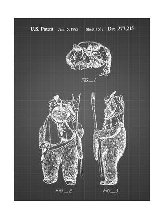 PP341-Black Grid Star Wars Ewok Patent Poster