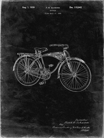 PP446-Black Grunge Schwinn 1939 BC117 Bicycle Patent Poster