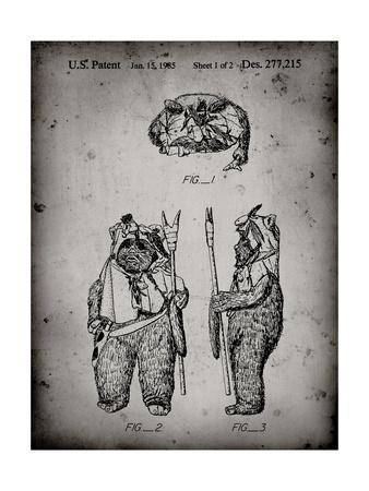 PP341-Faded Grey Star Wars Ewok Patent Poster