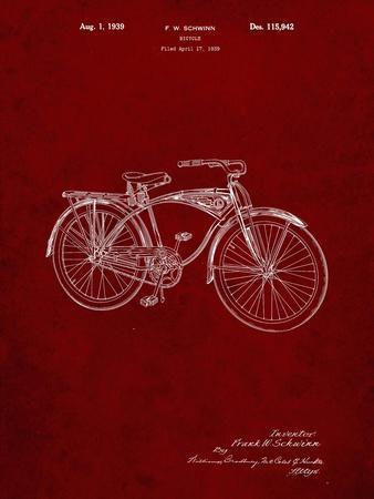 PP446-Burgundy Schwinn 1939 BC117 Bicycle Patent Poster