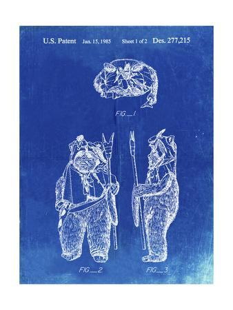 PP341-Faded Blueprint Star Wars Ewok Patent Poster