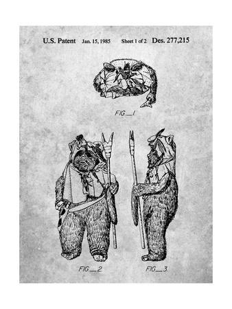 PP341-Slate Star Wars Ewok Patent Poster