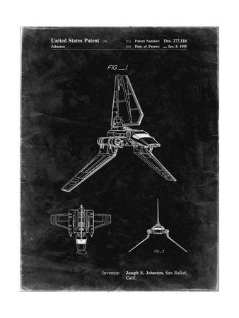 PP449-Black Grunge Star Wars Lambda Class T-4a Shuttle Patent Poster