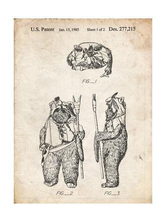 PP341-Vintage Parchment Star Wars Ewok Patent Poster