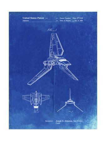 PP449-Faded Blueprint Star Wars Lambda Class T-4a Shuttle Patent Poster