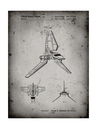PP449-Faded Grey Star Wars Lambda Class T-4a Shuttle Patent Poster