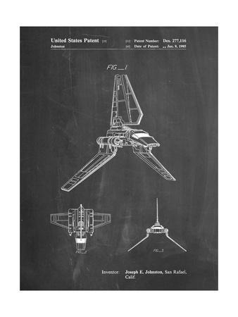 PP449-Chalkboard Star Wars Lambda Class T-4a Shuttle Patent Poster