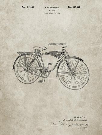 PP446-Sandstone Schwinn 1939 BC117 Bicycle Patent Poster