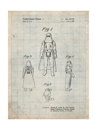 PP380-Antique Grid Parchment Star Wars Snowtrooper Patent Poster