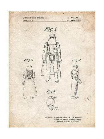 PP380-Vintage Parchment Star Wars Snowtrooper Patent Poster