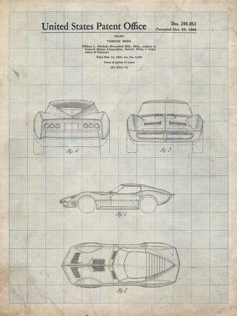 PP339-Antique Grid Parchment 1966 Corvette Mako Shark II Patent Poster