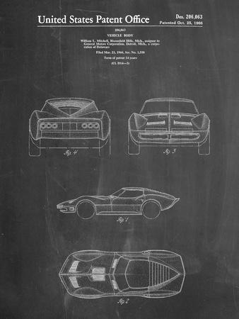 PP339-Chalkboard 1966 Corvette Mako Shark II Patent Poster