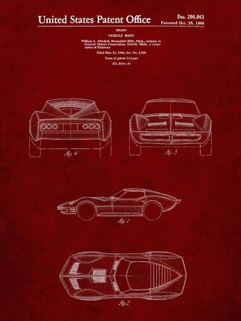 PP339-Burgundy 1966 Corvette Mako Shark II Patent Poster