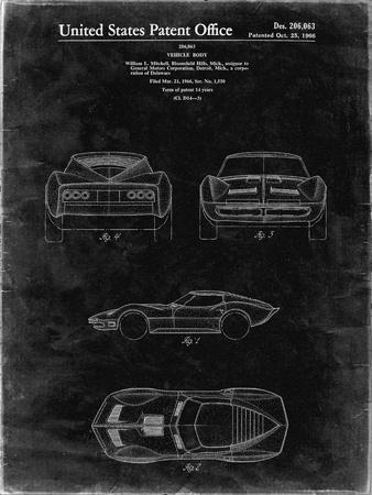PP339-Black Grunge 1966 Corvette Mako Shark II Patent Poster