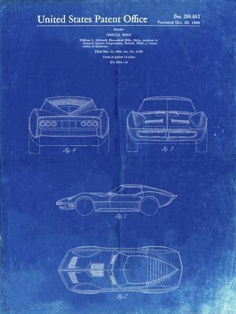 PP339-Faded Blueprint 1966 Corvette Mako Shark II Patent Poster